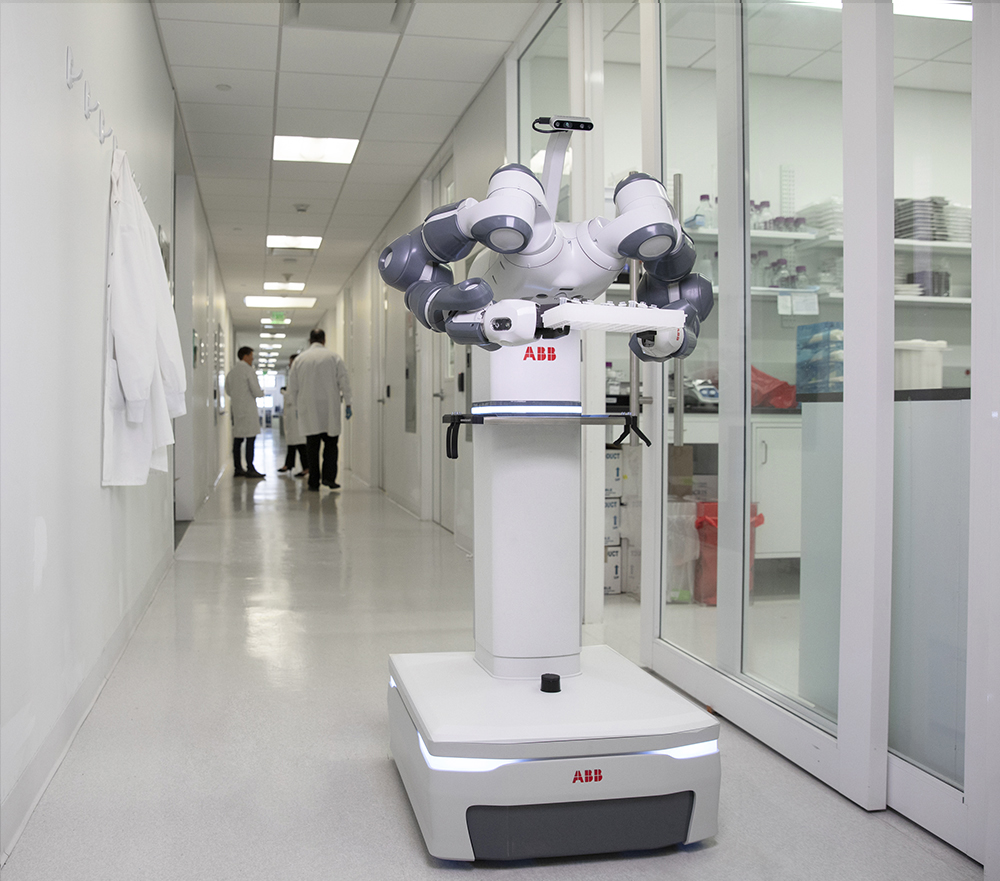 abb s mobile and autonomous yumi laboratory robot concept will be designed to work alongside medical staff and lab workers